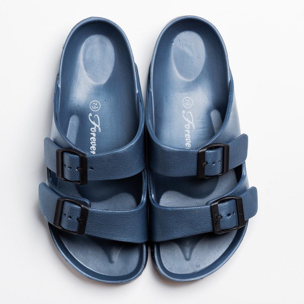 Womens Colorful Double Buckle Slides - Forever - Navy / 5