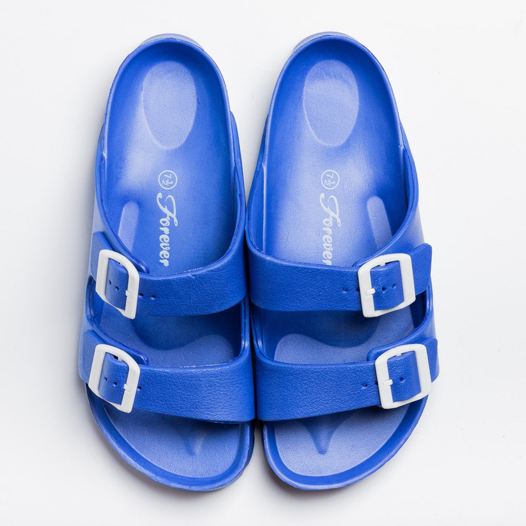 Womens Colorful Double Buckle Slides - Forever - Blue / 5