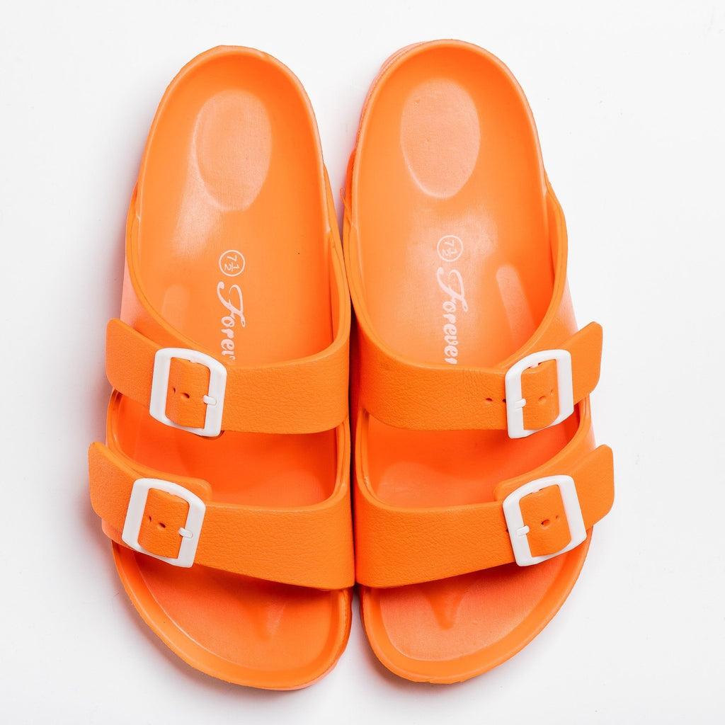 Womens Colorful Double Buckle Slides - Forever - Orange / 5