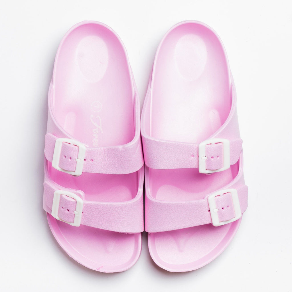 Womens Colorful Double Buckle Slides - Forever - Pink / 5