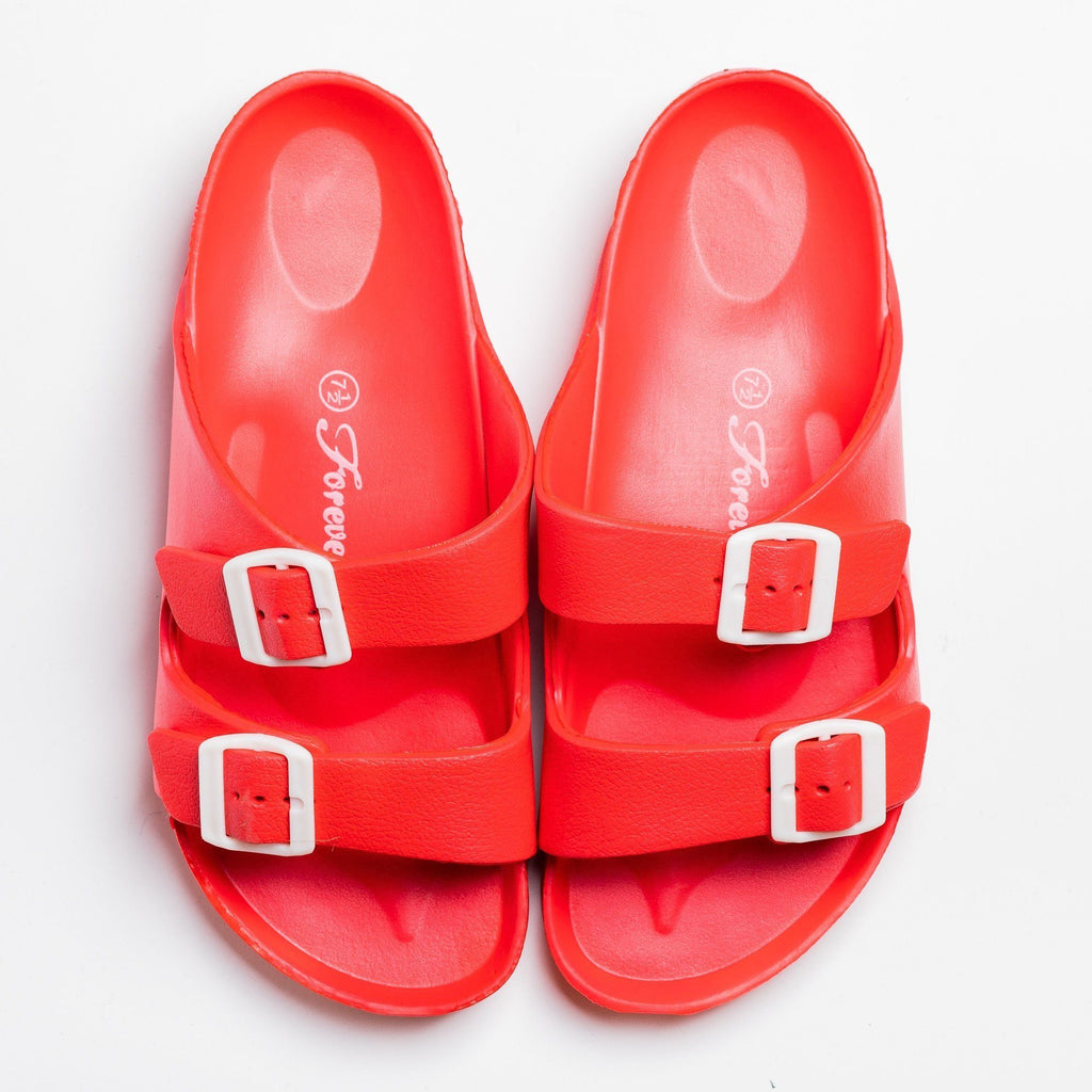 Womens Colorful Double Buckle Slides - Forever - Red / 5