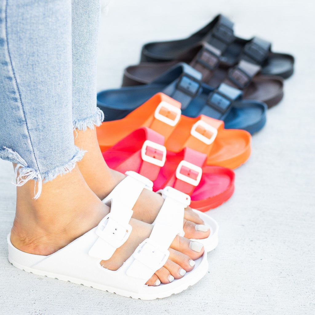 Womens Colorful Double Buckle Slides - Forever