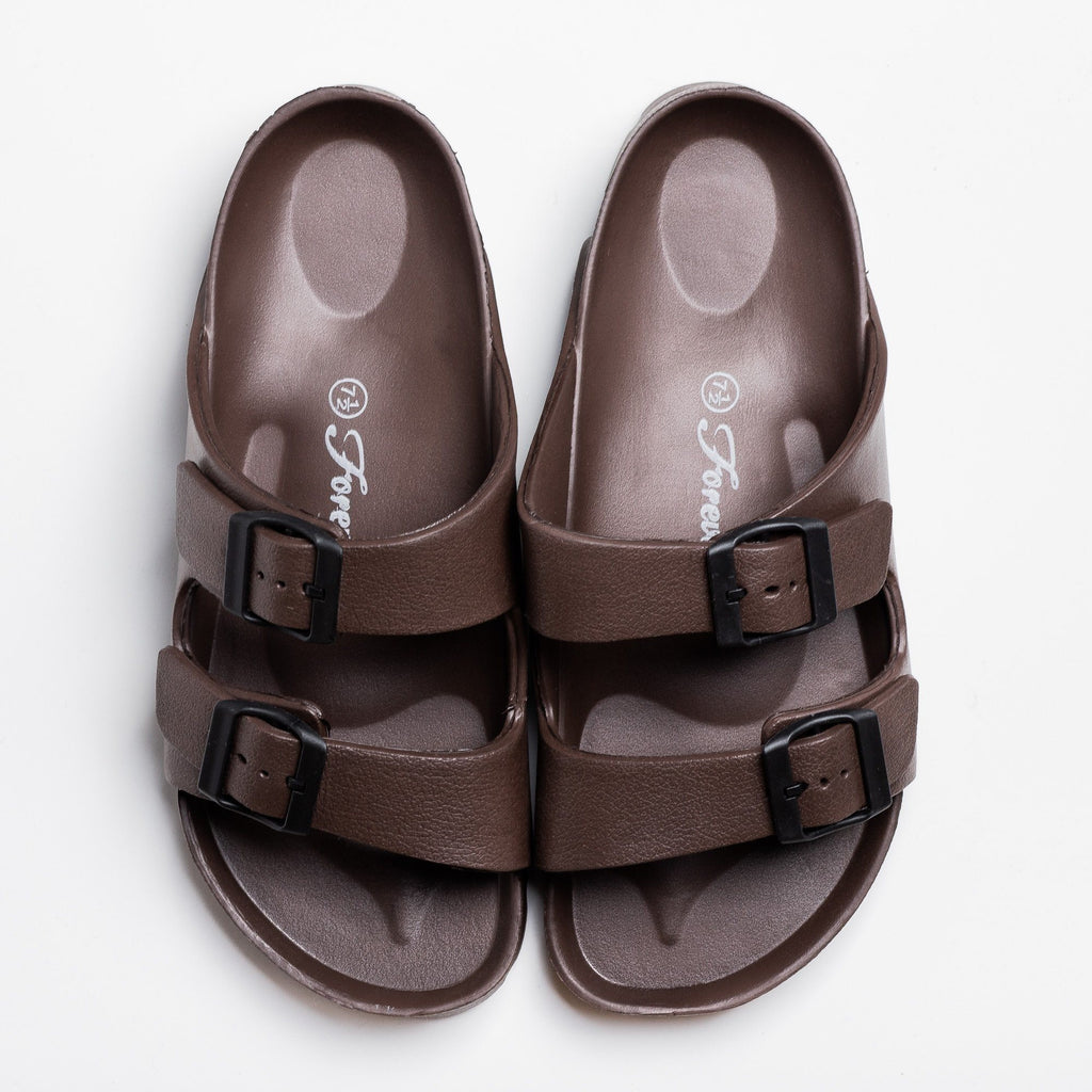 Womens Colorful Double Buckle Slides - Forever - Brown / 5