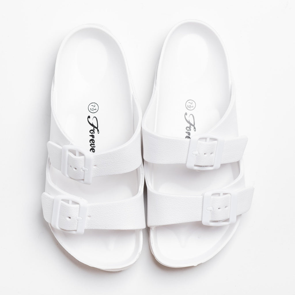 Womens Colorful Double Buckle Slides - Forever - White / 5
