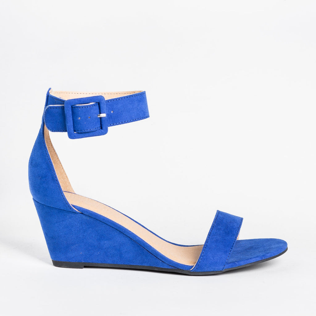 Womens Colorful Everyday Fashion Wedges - Charlotte Russe - Cobalt Blue / 5
