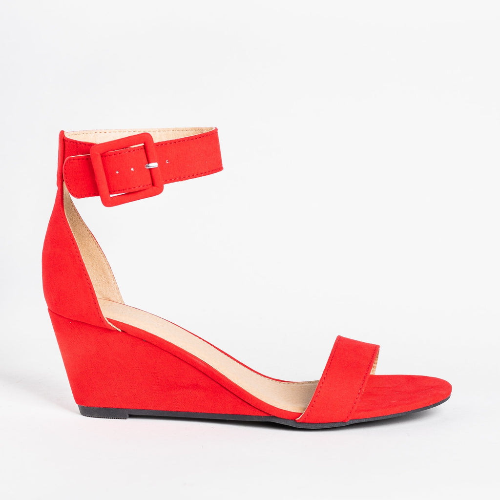 Womens Colorful Everyday Fashion Wedges - Charlotte Russe - Red / 5