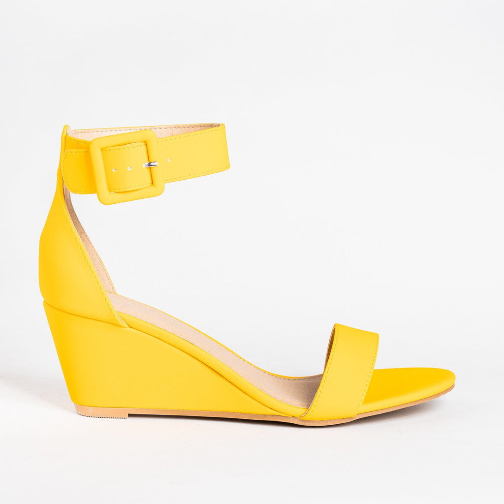 Womens Colorful Everyday Fashion Wedges - Charlotte Russe - Mustard / 5
