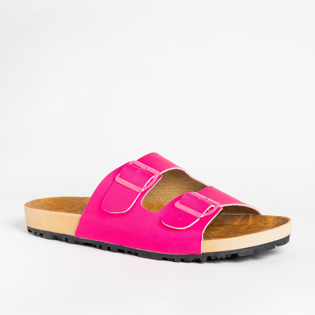Womens Colorful Fashion Slides - Shoetopia - Fuchsia / 5
