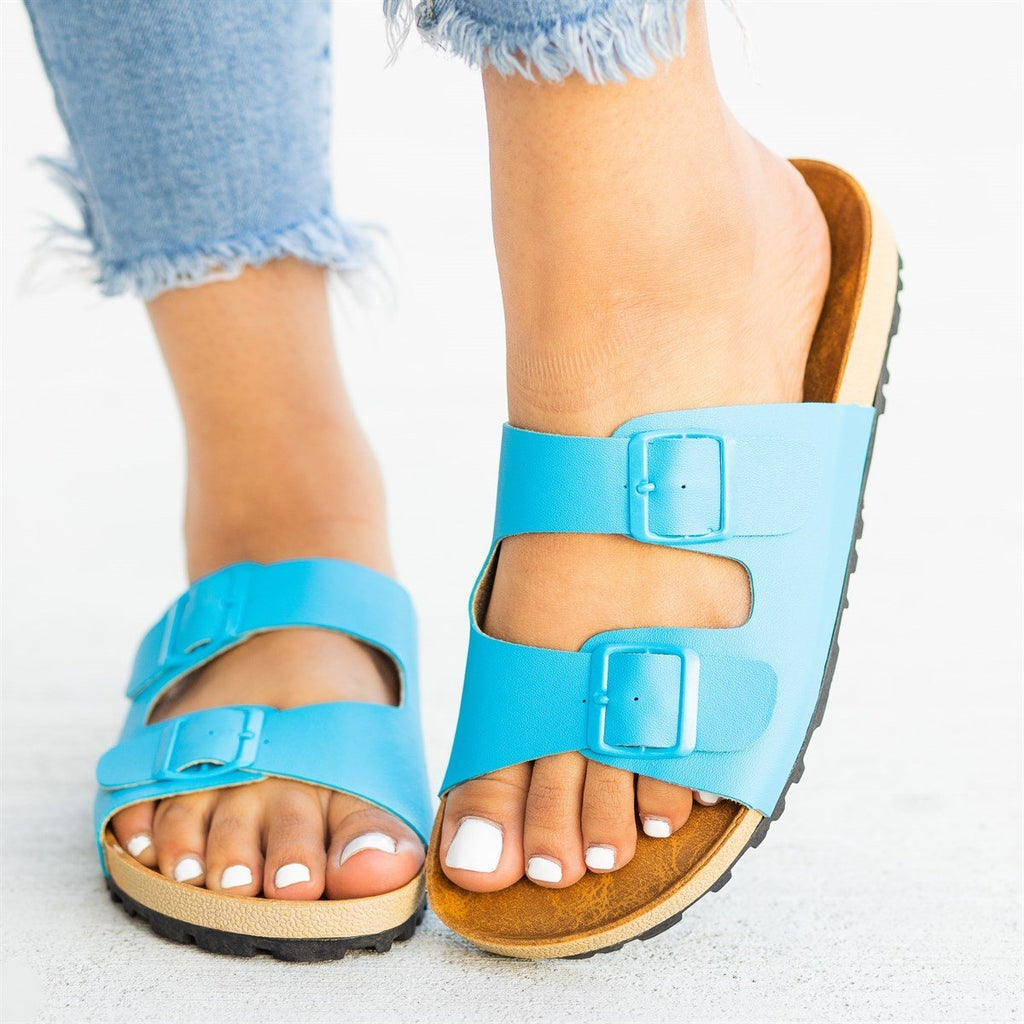 Womens Colorful Fashion Slides - Shoetopia