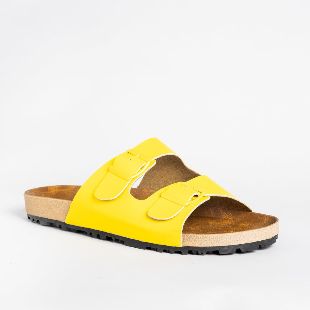 Womens Colorful Fashion Slides - Shoetopia - Yellow / 5