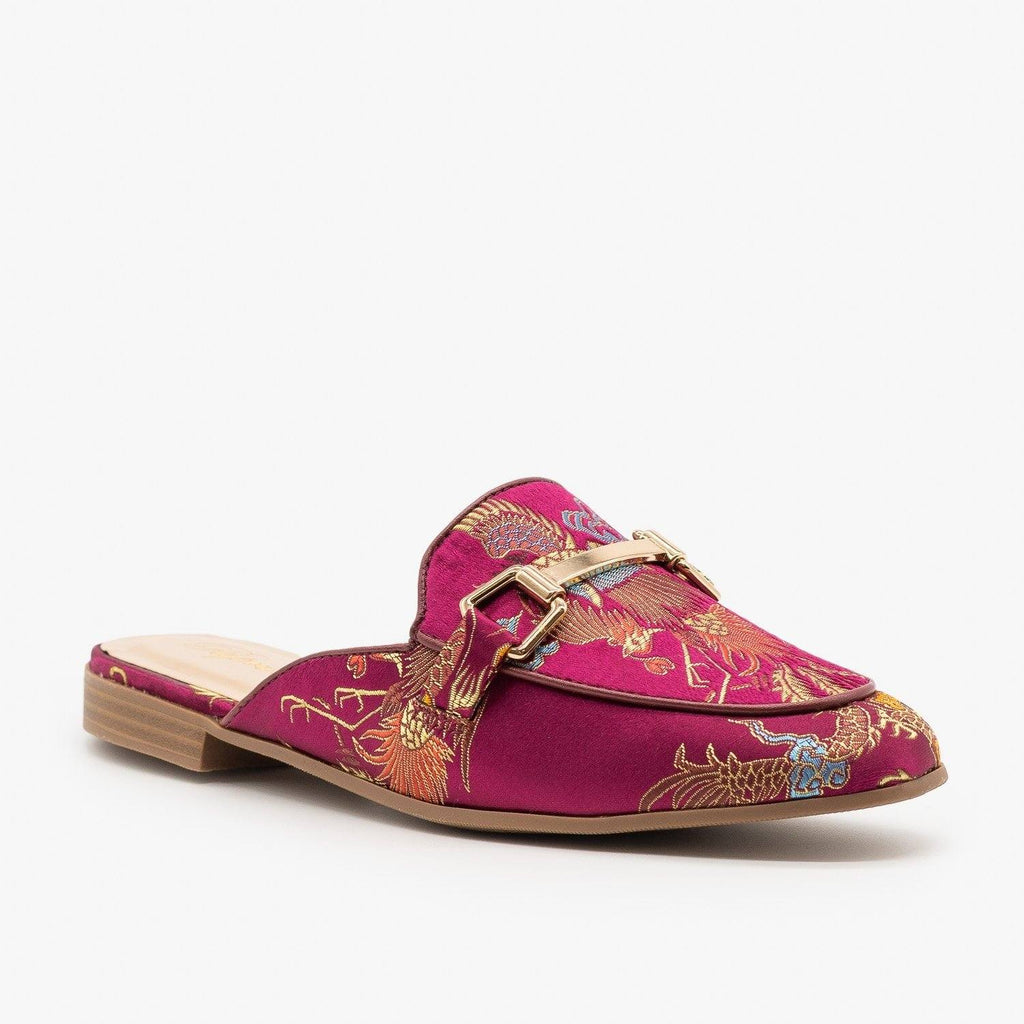 Womens Colorful Patterned Mules - Paprika Shoes - Vino / 5