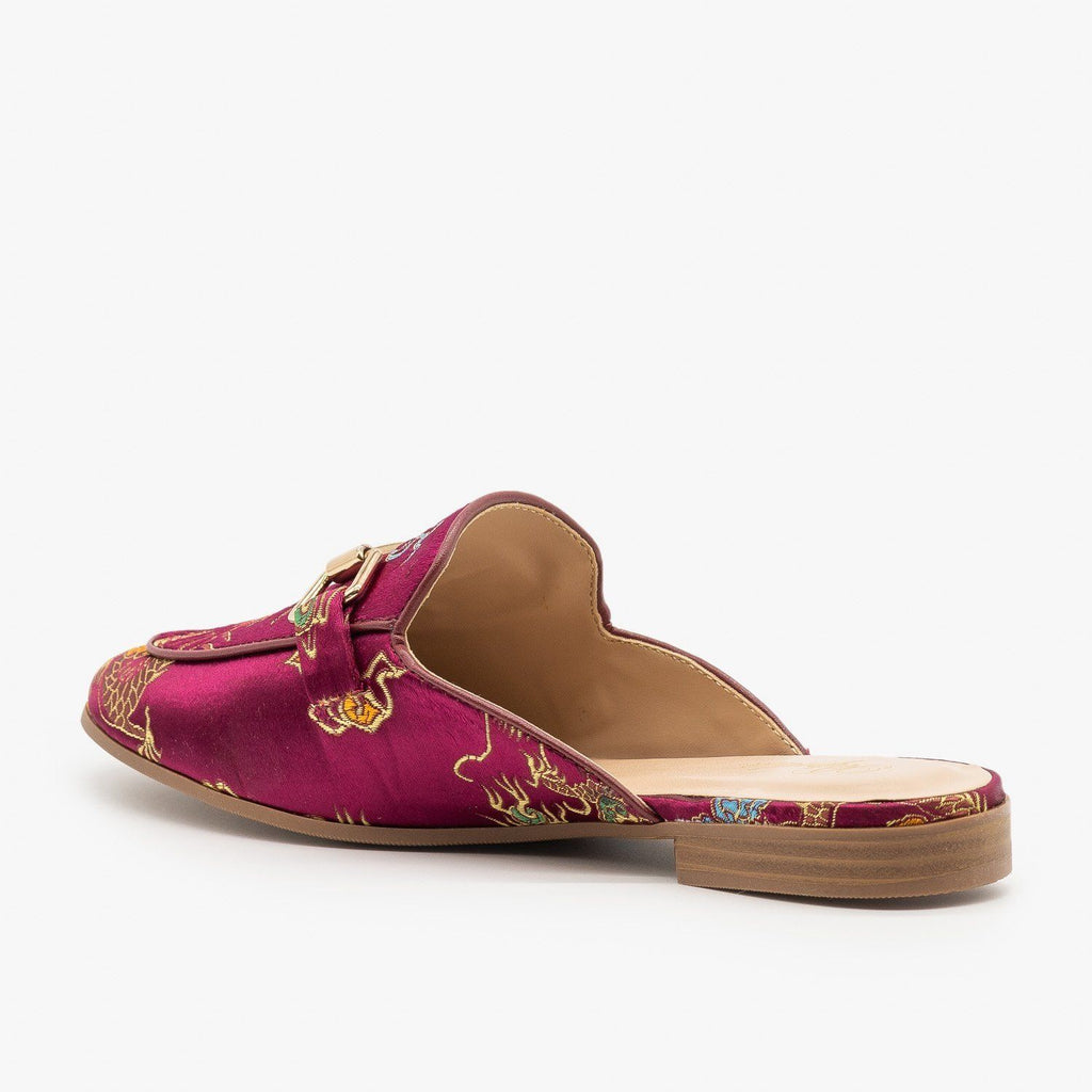 Womens Colorful Patterned Mules - Paprika Shoes