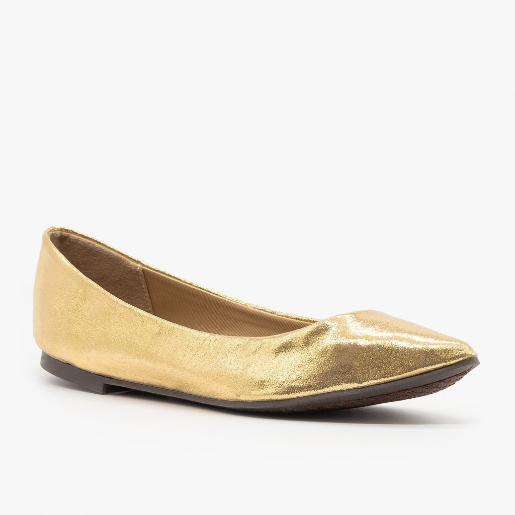 Womens Colorful Pointed Toe Ballet Flats - Breckelles - Gold / 5