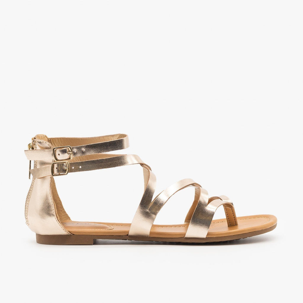 Womens Colorful Strappy Sandals - Breckelles - Champagne / 5