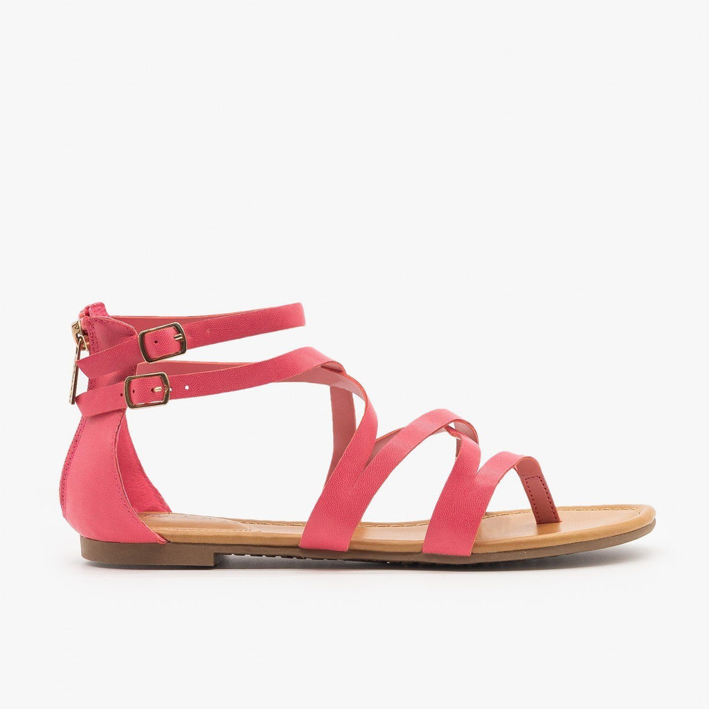 Womens Colorful Strappy Sandals - Breckelles - Pink / 5