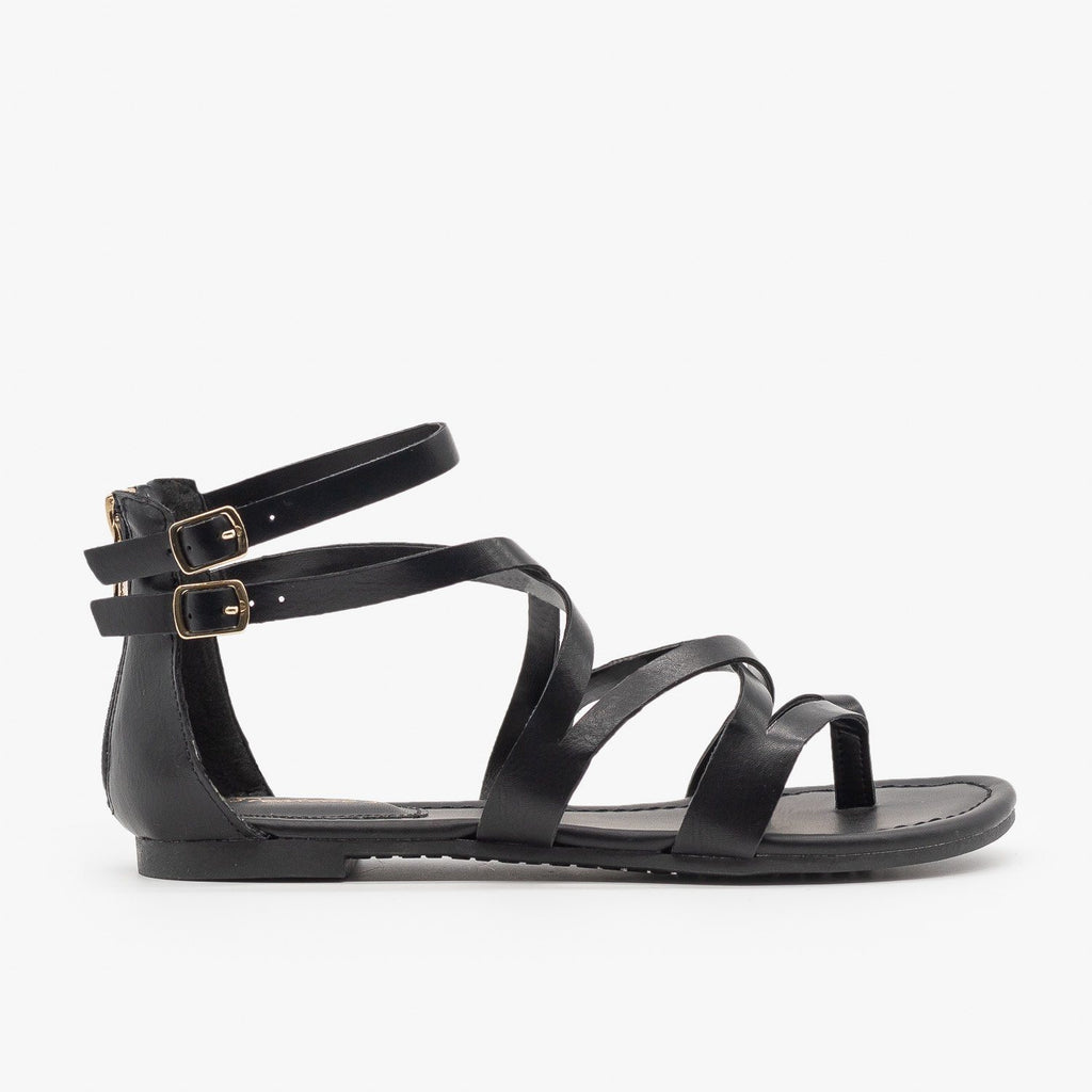 Womens Colorful Strappy Sandals - Breckelles - Black / 5
