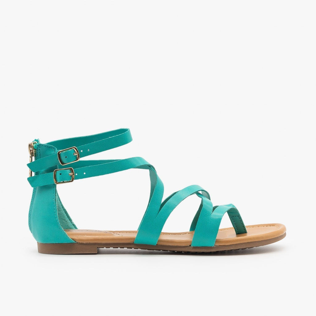 Womens Colorful Strappy Sandals - Breckelles - Aqua / 5
