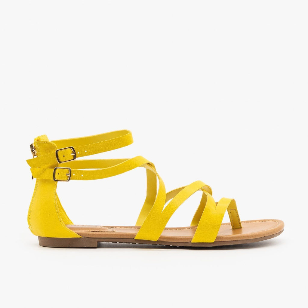 Womens Colorful Strappy Sandals - Breckelles - Yellow / 5