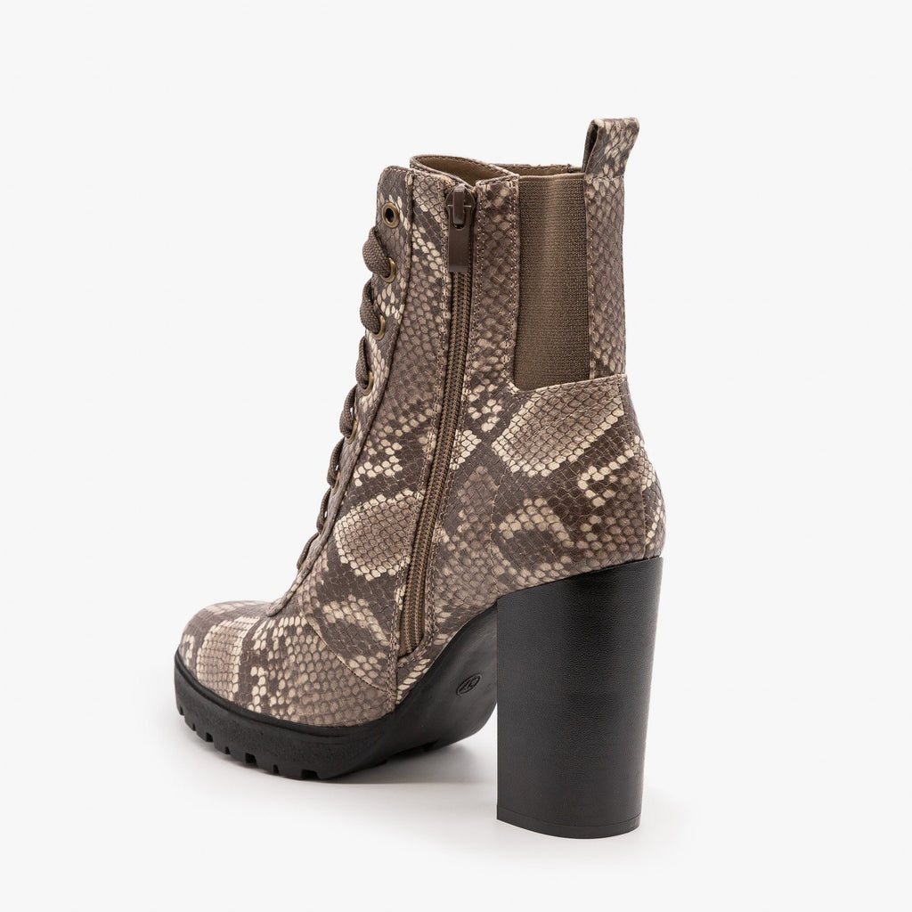 Womens Combat Heel Booties - Refresh