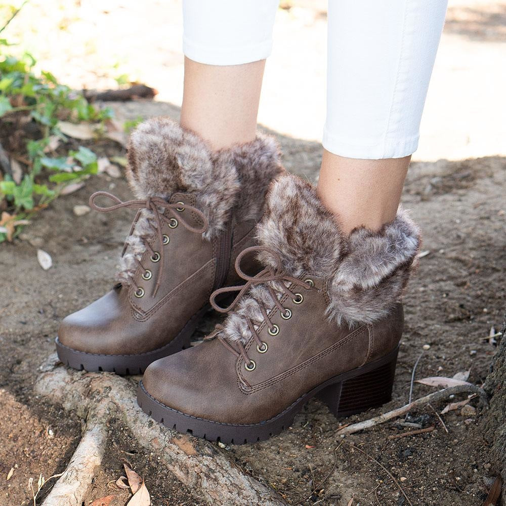 Women's Combat Styled Booties - Delicious Shoes - Brown / 5