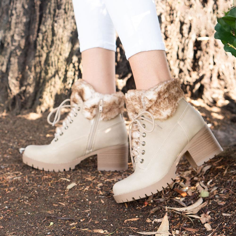 Women's Combat Styled Booties - Delicious Shoes - Light Camel / 5