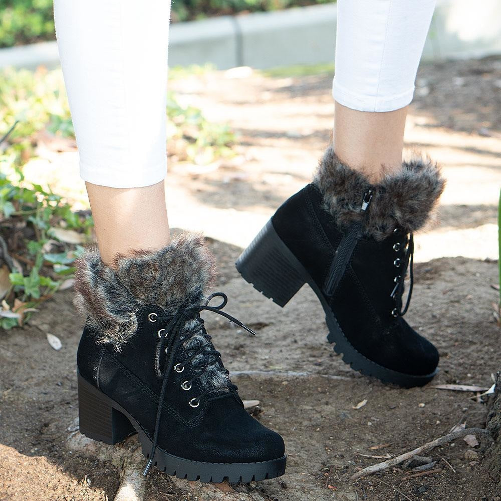 Women's Combat Styled Booties - Delicious Shoes - Black / 5