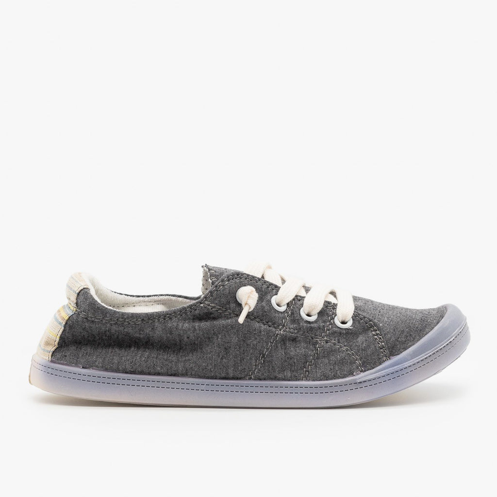 Womens Comfort Canvas Fashion Sneakers - Forever - Dark Grey / 5