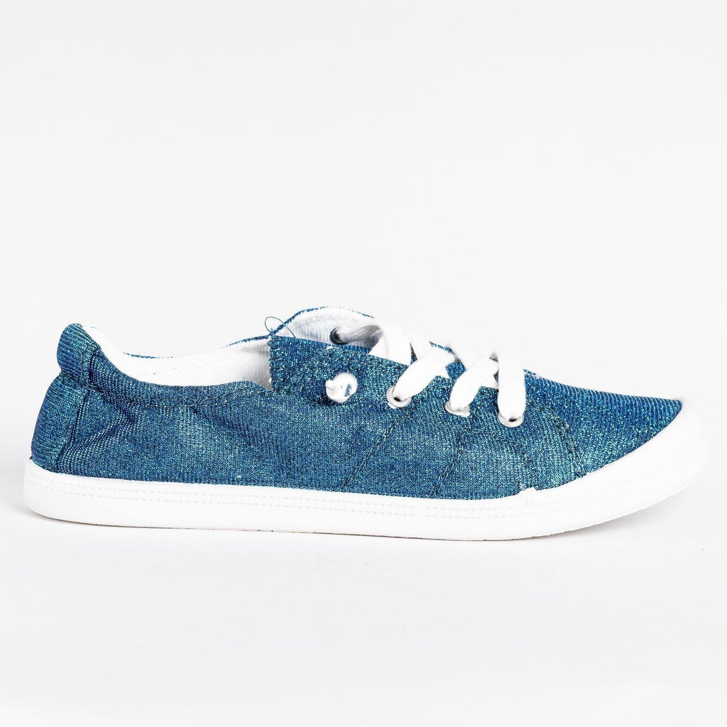 Womens Comfort Glitter Fashion Sneakers - Forever - Blue / 5