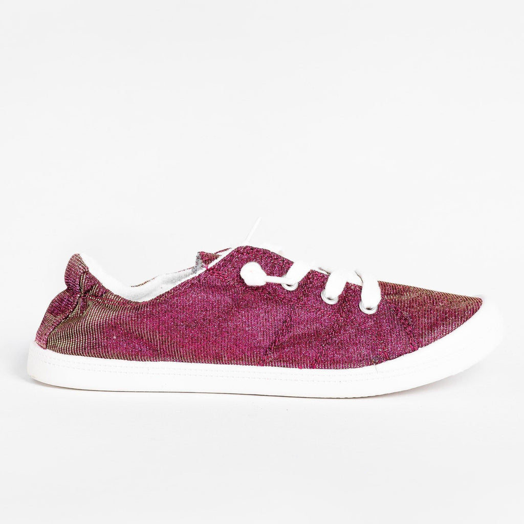 Womens Comfort Glitter Fashion Sneakers - Forever - Burgundy / 5
