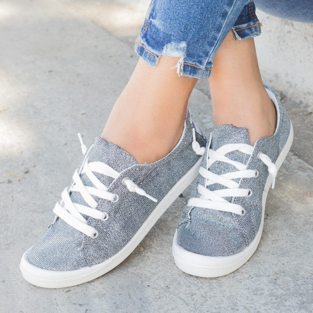 Womens Comfort Glitter Fashion Sneakers - Forever - Dark Grey / 5