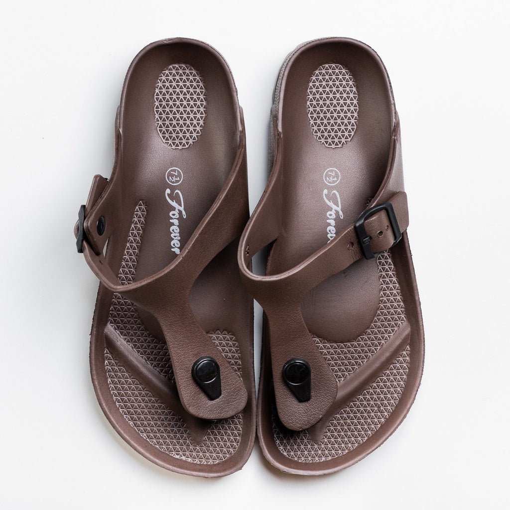 Womens Comfort Thong-Toed Slides - Forever - Brown / 5