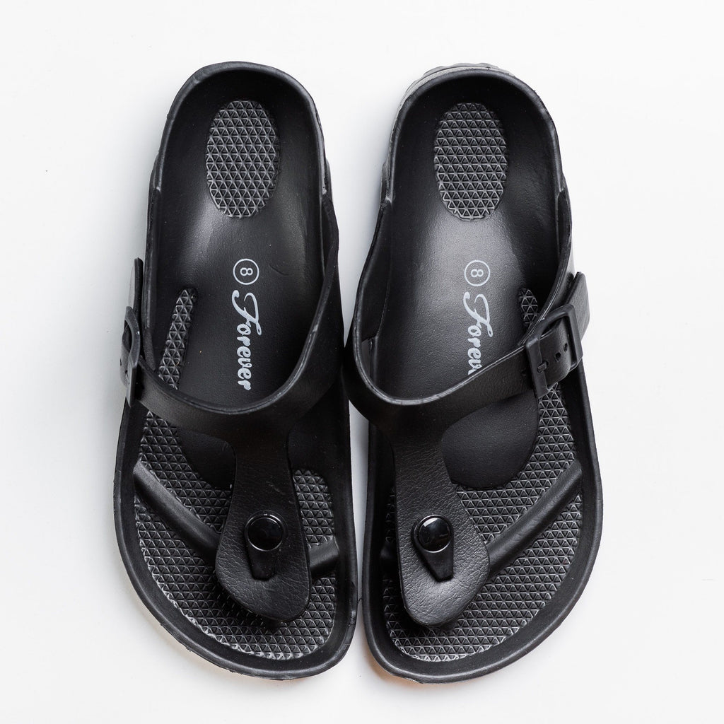 Womens Comfort Thong-Toed Slides - Forever - Black / 5