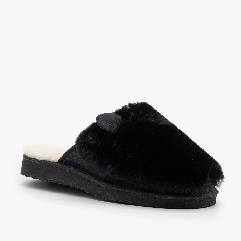 Womens Comfy Animal Ear Furry Slippers - Refresh - Black / 5