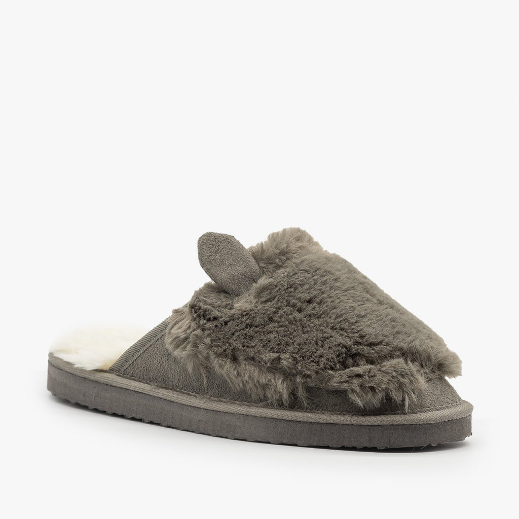 Womens Comfy Animal Ear Furry Slippers - Refresh - Gray / 5