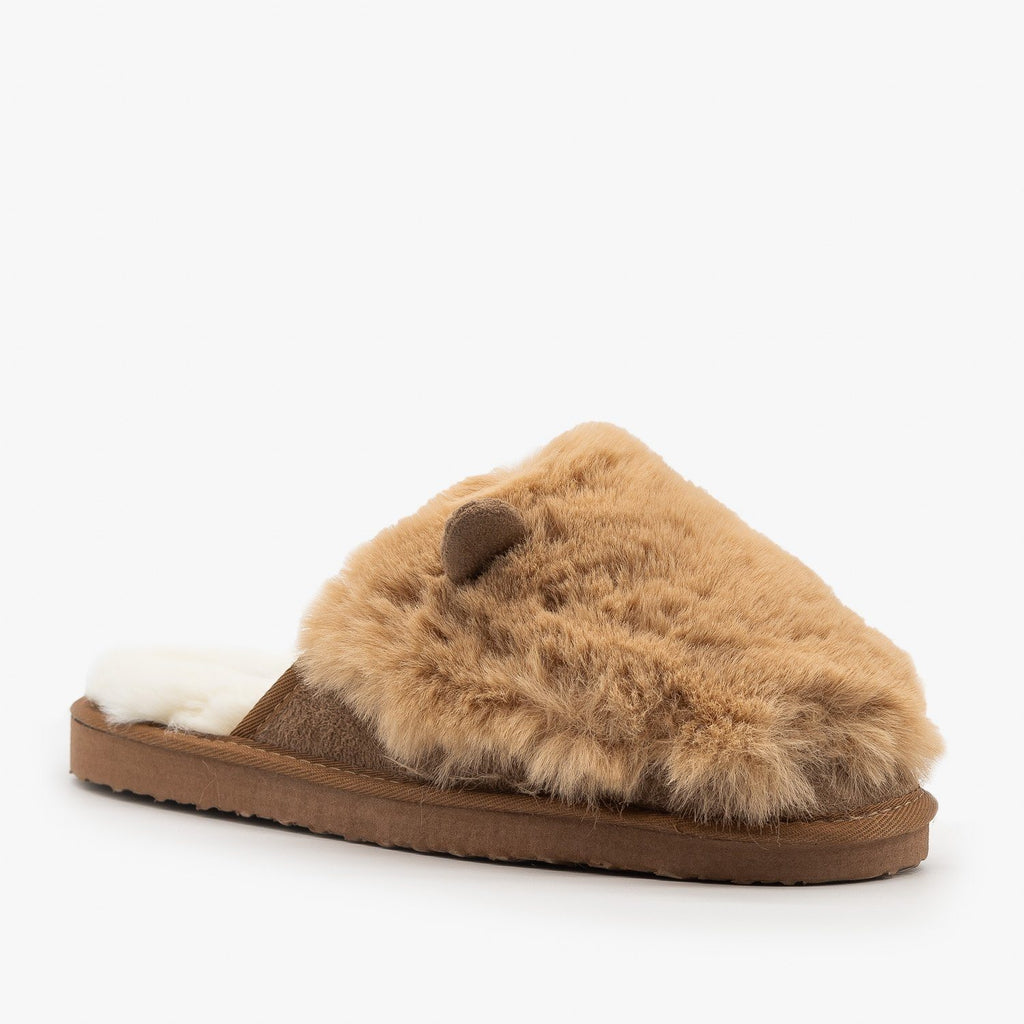 Womens Comfy Animal Ear Furry Slippers - Refresh - Mocha / 5