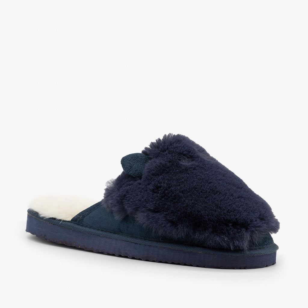Womens Comfy Animal Ear Furry Slippers - Refresh - Navy / 5