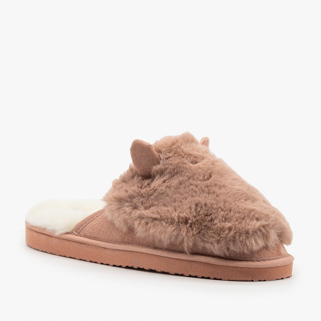 Womens Comfy Animal Ear Furry Slippers - Refresh - Mauve / 5
