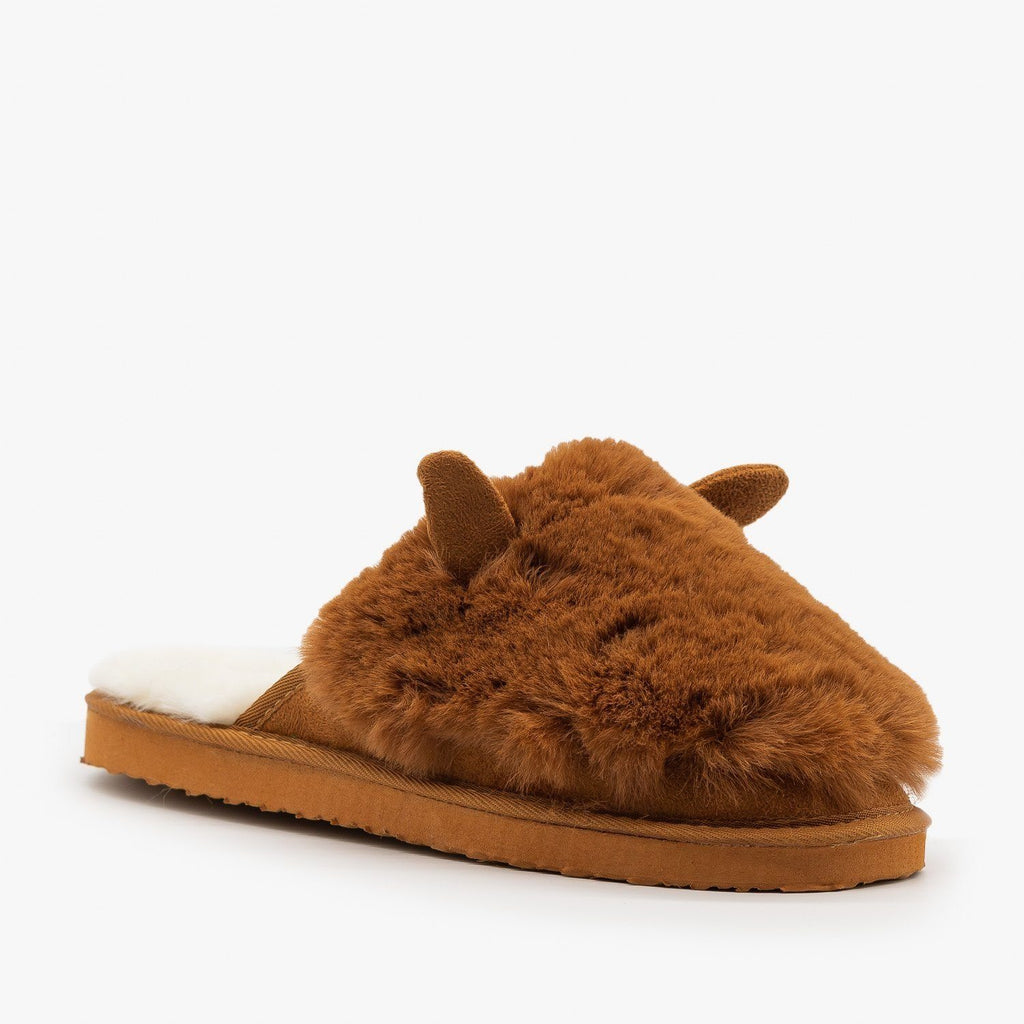 Womens Comfy Animal Ear Furry Slippers - Refresh - Tan / 5