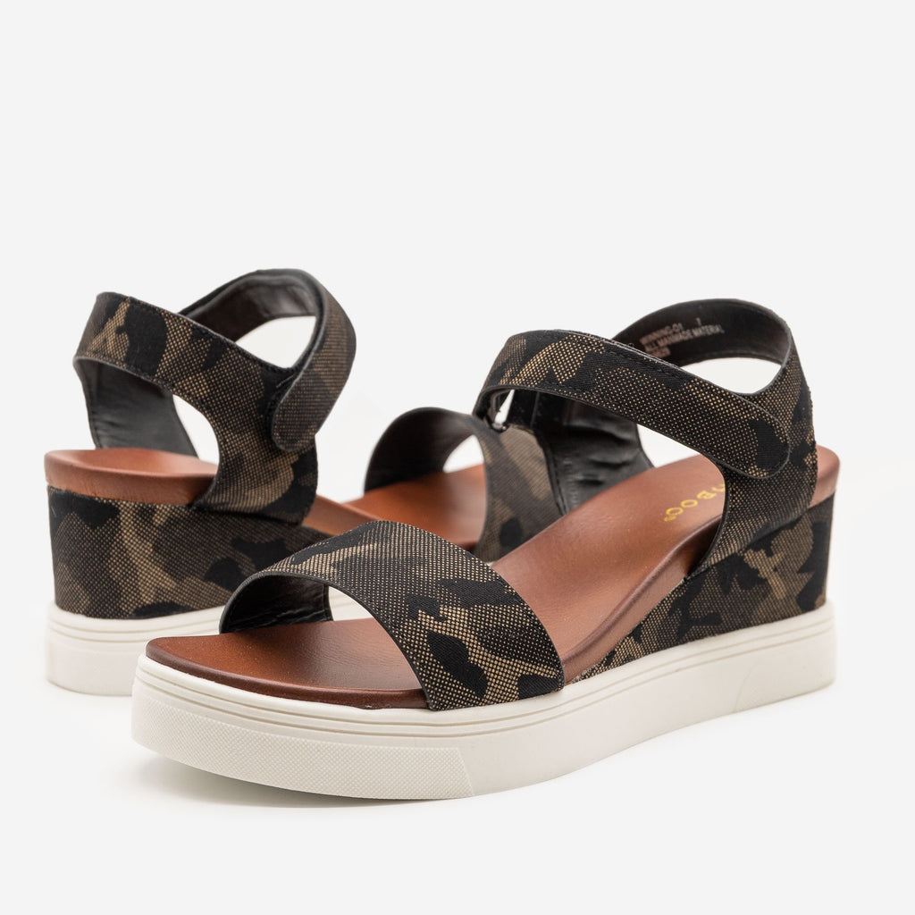Women's Comfy Camo Sandal Wedges - Bamboo Shoes