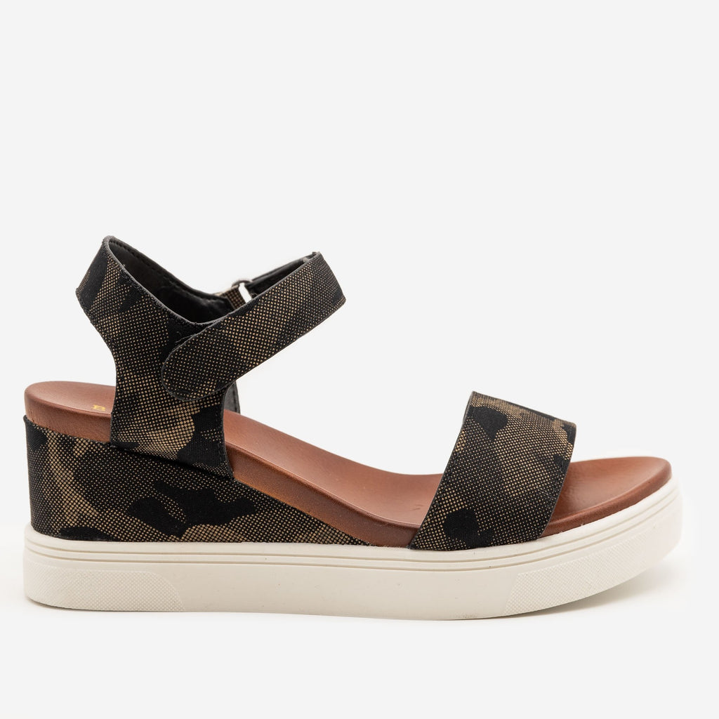 Comfy Camo Sandal Wedges - Bamboo Shoes