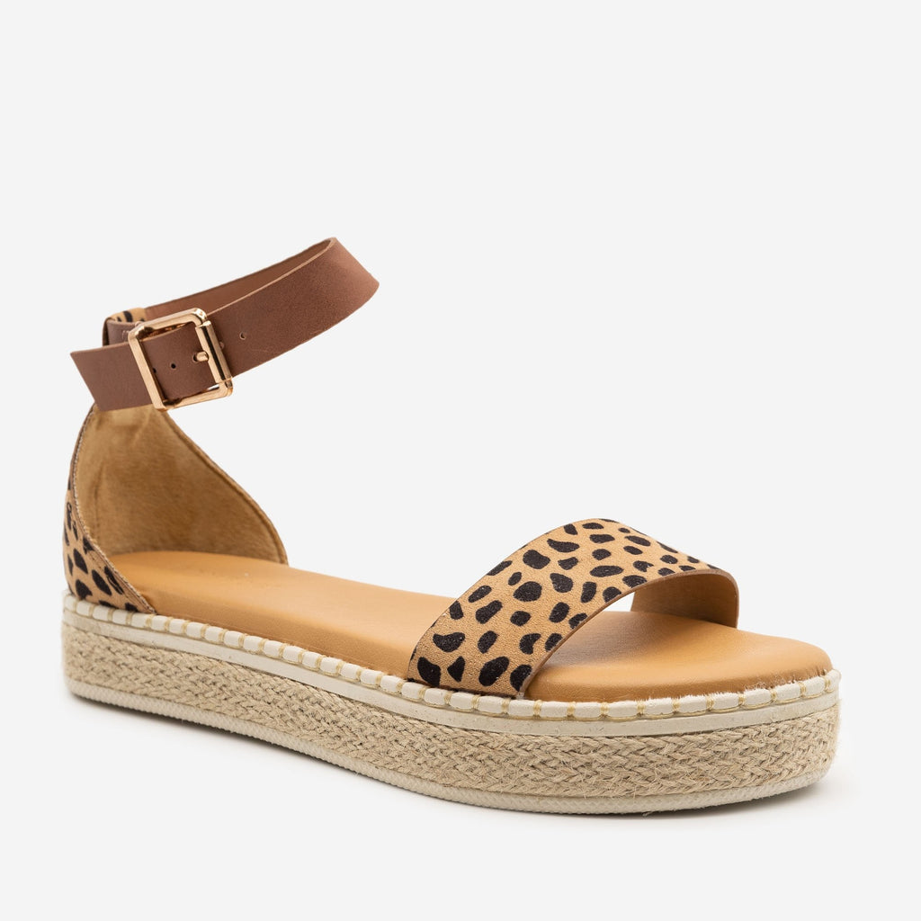 Women's Comfy Cheetah Print Espadrille Sandals - Bamboo Shoes