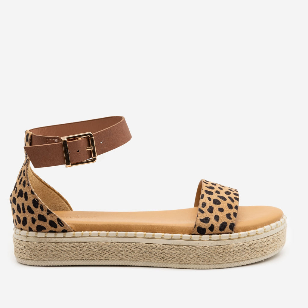 Women's Comfy Cheetah Print Espadrille Sandals - Bamboo Shoes - Cheetah / 5