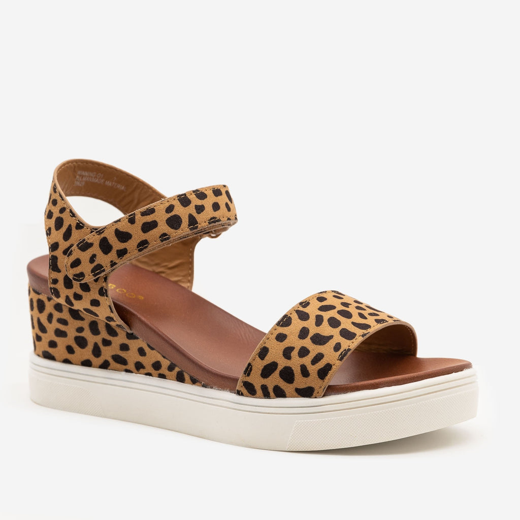 Women's Comfy Cheetah Print Sandal Wedges - Bamboo Shoes