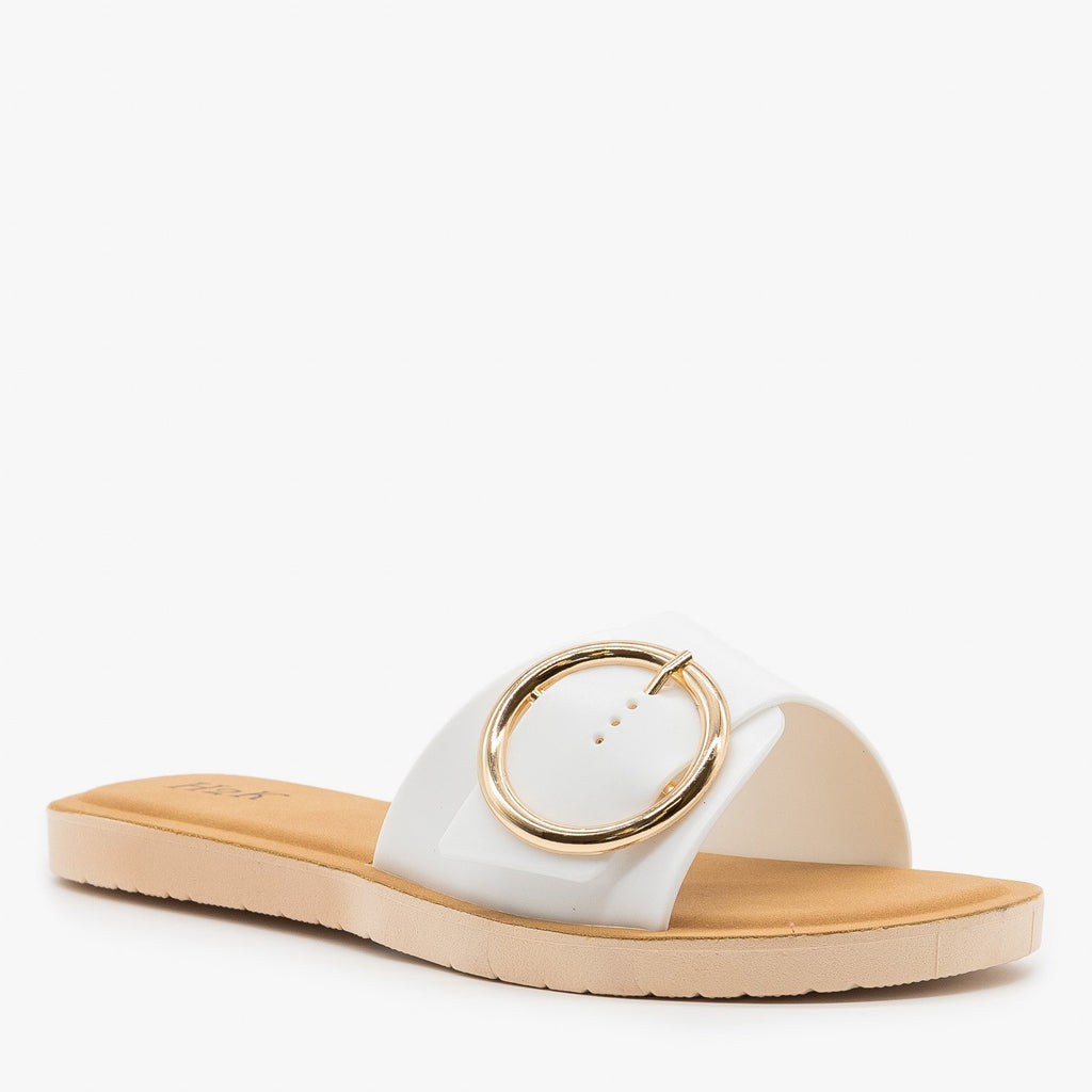 Womens Comfy Chic Buckle Sandals - H2K Shoes - White / 5