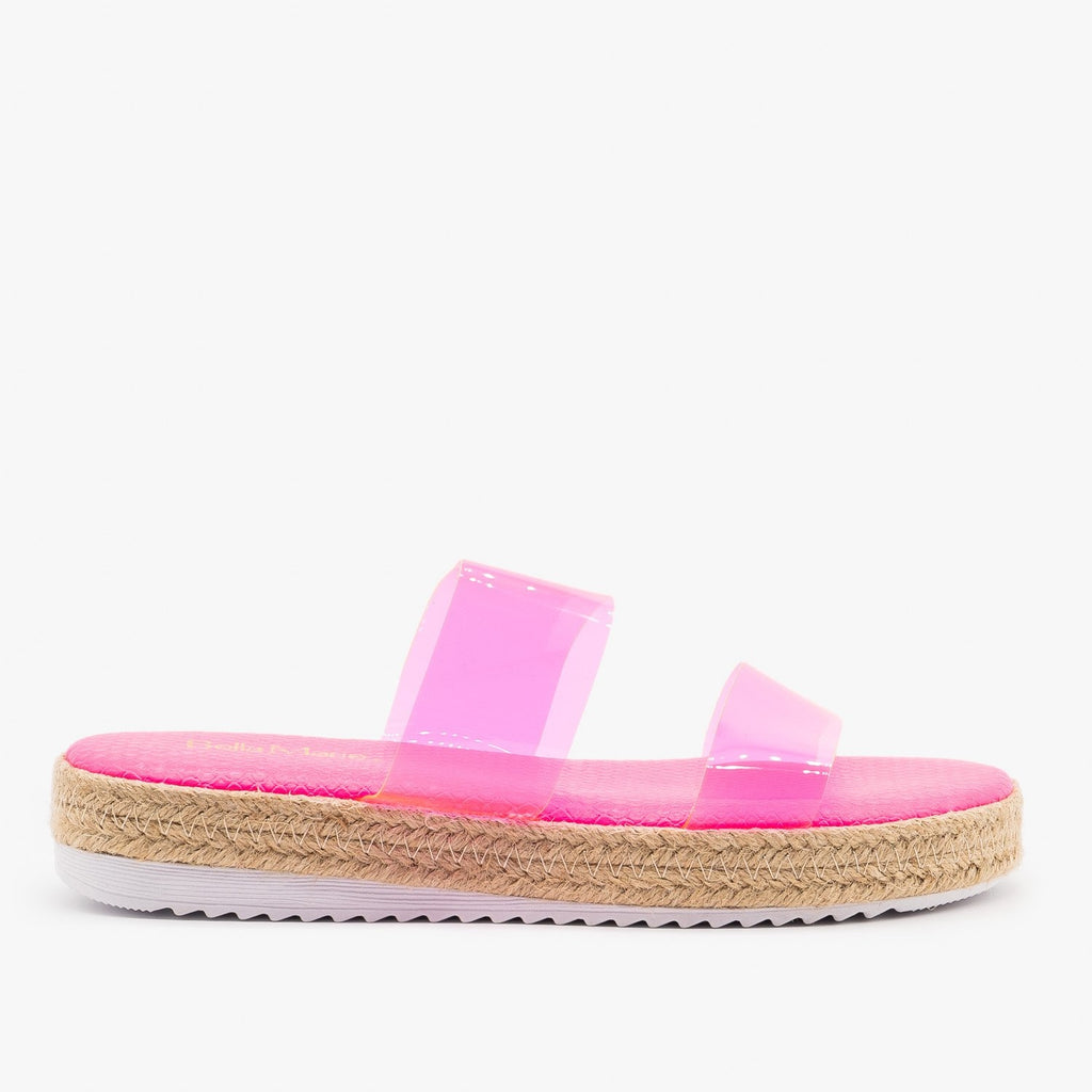 Womens Comfy Clear Strap Espadrille Sandals - Anna Shoes - Neon Pink / 5