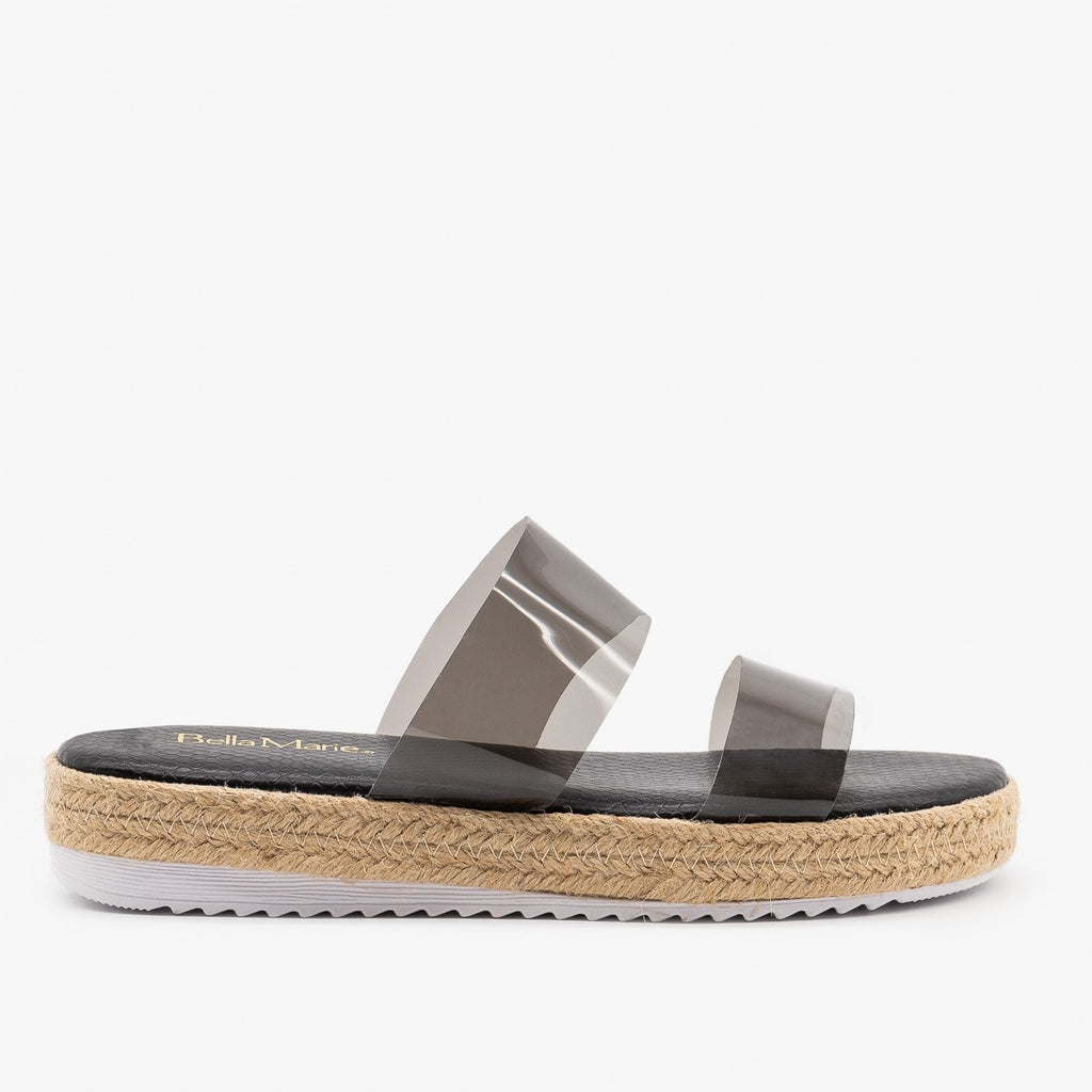 Womens Comfy Clear Strap Espadrille Sandals - Anna Shoes - Black / 5