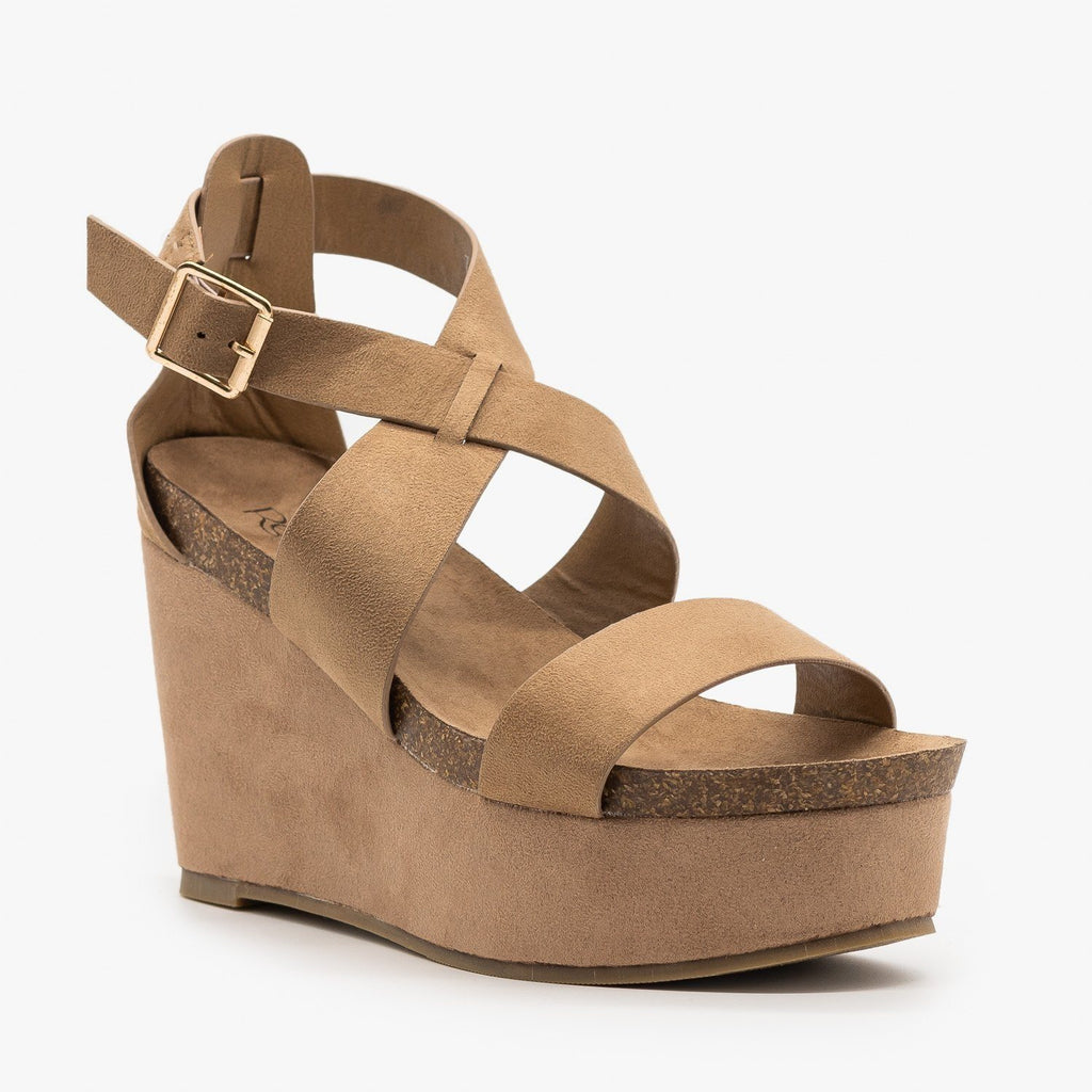Womens Comfy Cork Insole Platform Wedges - Refresh - Taupe / 5