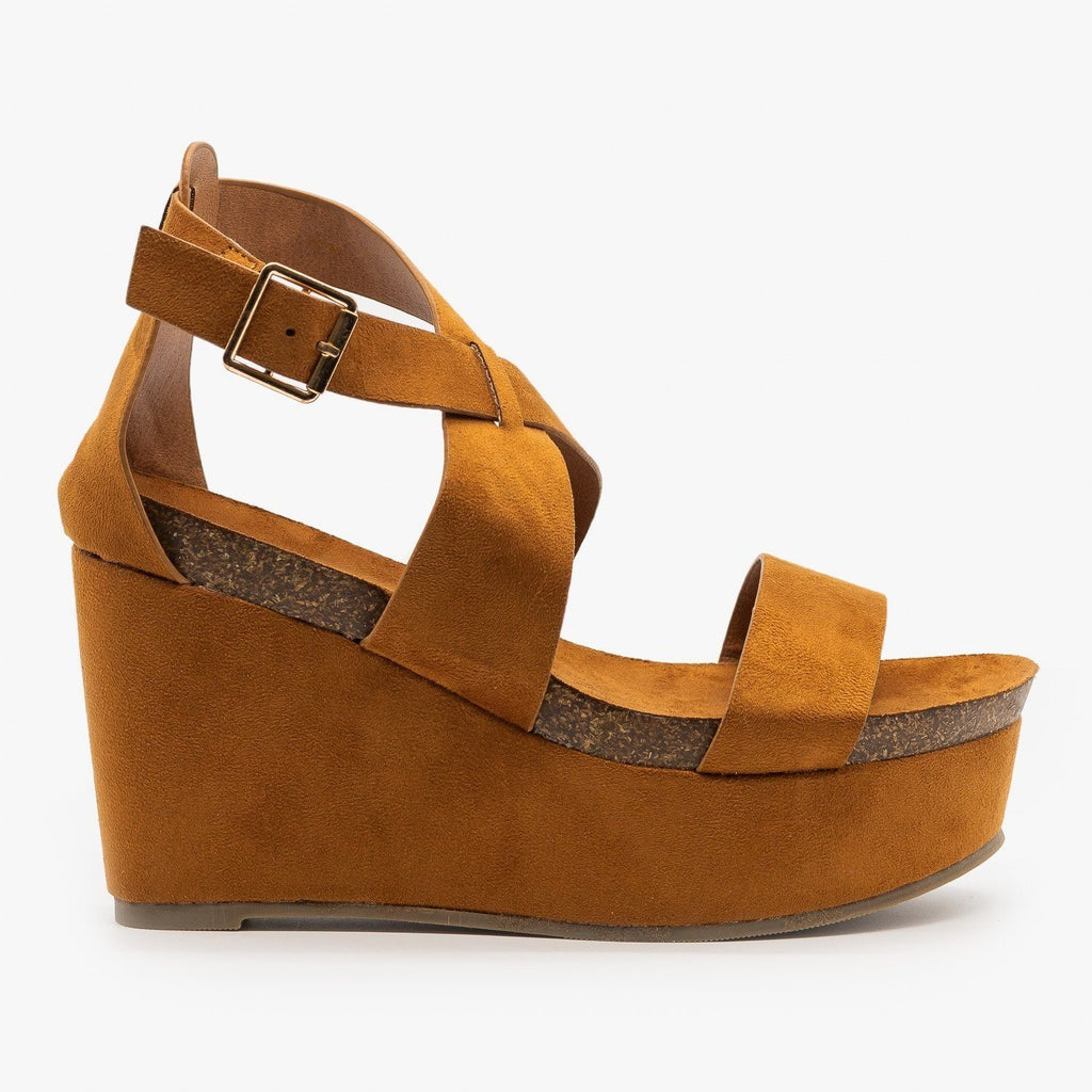 Womens Comfy Cork Insole Platform Wedges - Refresh