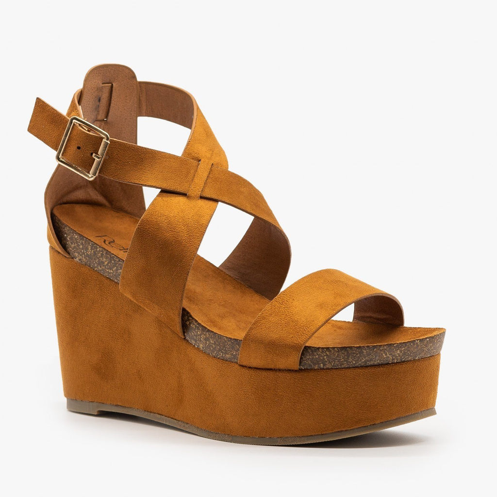 Womens Comfy Cork Insole Platform Wedges - Refresh - Tan / 5