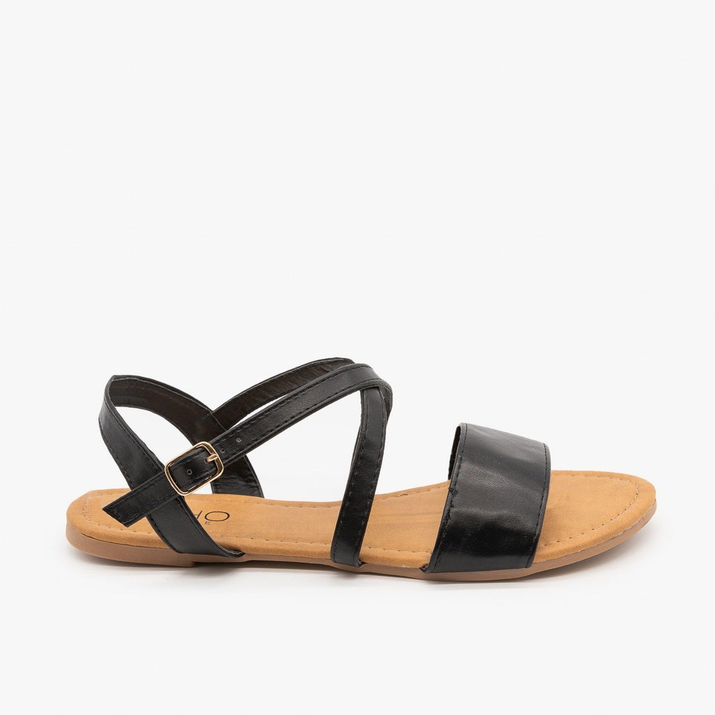 Womens Comfy Criss Cross Slingback Sandals - Soho Girls - Black / 5
